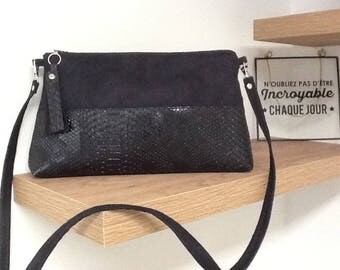 "Evening bag with removable shoulder strap, suede and leather ""croco"" black hand or shoulder carry"