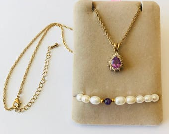 Gold over Sterling Silver Vintage Necklace and Bracelet Set featuring a beautiful Amethyst Stone