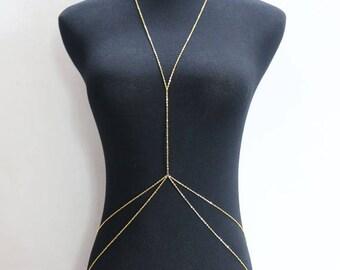 Body Chain | Body Chain Jewelry | Gold Body Chain | Body Chain Necklace | Body Jewelry | Gifts for Her | Delicate Chain Body Harness