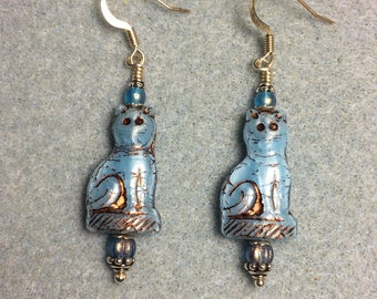 Light blue fancy Czech glass cat bead earrings adorned with light blue Czech glass beads.