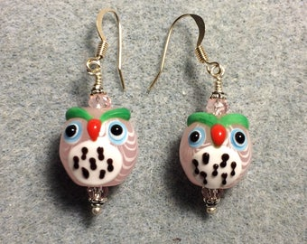 Pink and white lampwork spotted owl bead earrings adorned with pink Chinese crystal beads.