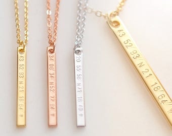 Vertical Coordinate Necklaces for women Personalized friend gift best buddy - 6N