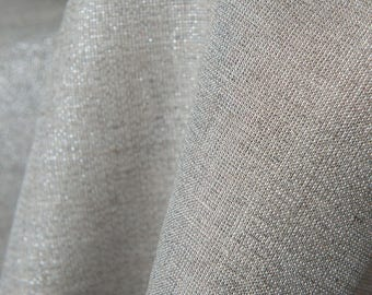 100% linen fabrics with silver glitter/ pure linen fabrics/Natural linen fabrics in grey by the half-meters