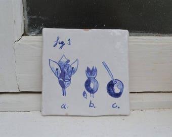 "Handmade stoneware tile ""botanica"""