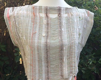 Handwoven, one-of-a-kind pullover crop top, Saori-style weaving