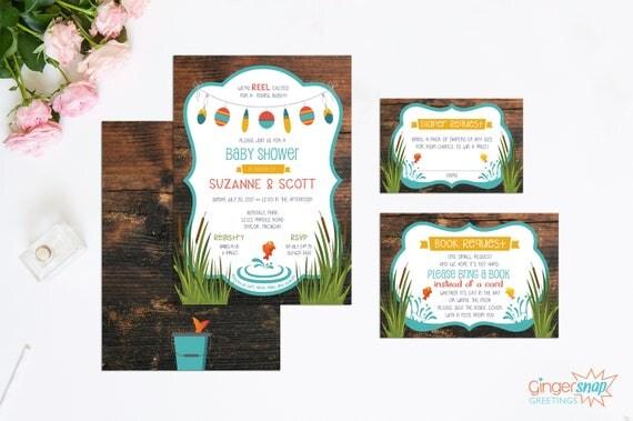 fishing themed baby shower invitation set gender neutral baby shower