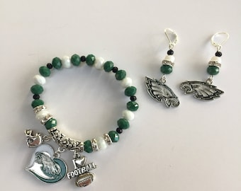 Philadelphia Eagles Charm Bracelet and Earrings