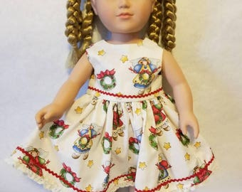 "Angels and wreaths Christmas dress for American Girl or other similar 18"" inch dolls"