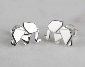 Stunning Silver Origami Elephant Earrings