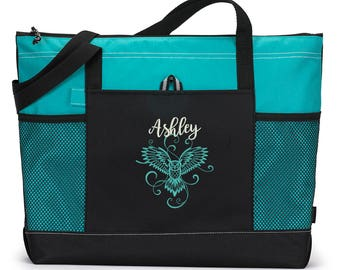 Owl in Flight Personalized Embroidered Tote Bag