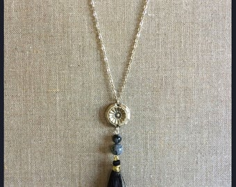 White bronze necklace, snowflake Obsidian beads and tassel made entirely by hand.