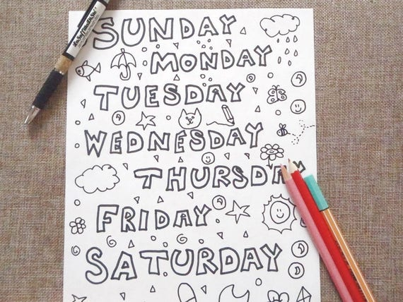 Week days kids coloring page letters home teaching learn