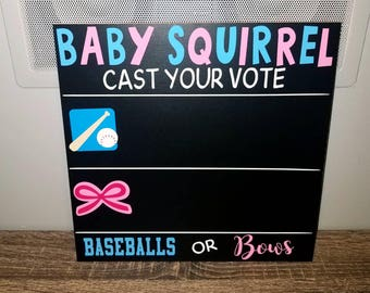 Gender Reveal game, baby shower game, baseballs or bows, boy or girl? Chalkboard, personalized baby shower game