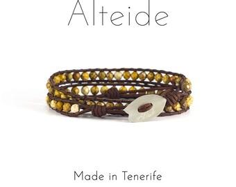Bracelet El Medano 2 waves - Alteide - made in Tenerife - surf inspired - 925 Silver - man woman - Jasper Sand