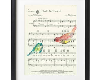 Shall we dance? Sheet Music Art with birds - ORIGINAL PAINTING