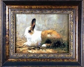 Framed Print - White and Brown Rabbit