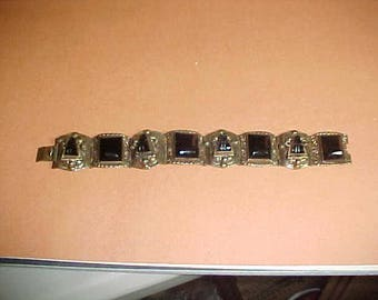 Black Onyx Mayan Warrior Sectional Bracelet 925 Sterling Silver Mexico-Mark?