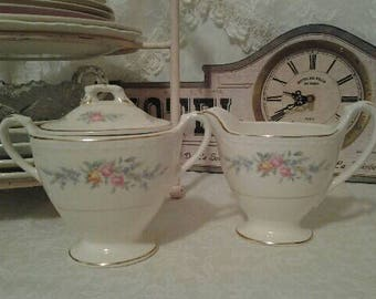 Homer Laughlin Creamer and Sugar Bowl with Lid