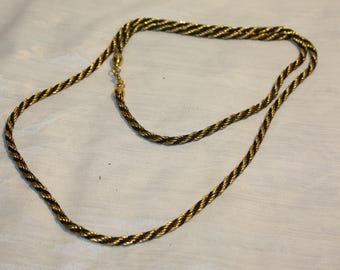 Black and Gold woven together 30 in Rope Style Necklace
