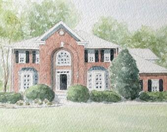 Custom Home Portrait, Custom Watercolor of a House, House Portrait Watercolor, Anniversary Gift, Realtor Gift