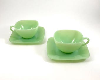 Fire King Jadeite Charm Teacups & Saucers - Set of 2