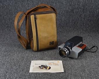 Vintage Kodak Xl 350super 8 Movie Camera With Original Leather-Like Case