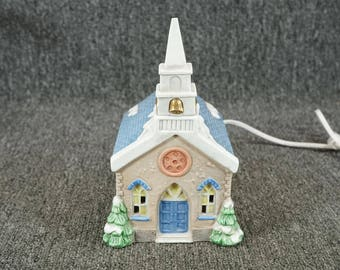 Vintage National Decorations Illuminated Bisque Porcelain Church 1990