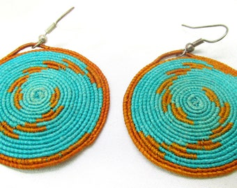 Vintage Circular Southwest Turquoise & Brown Thread Pierced Dangle Earrings