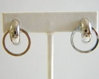 Shiny SIlver Tone Abstract Clip On Earrings