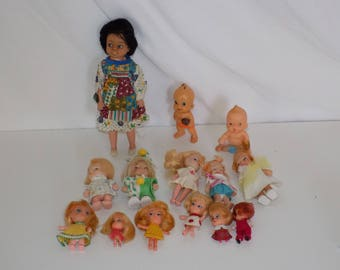 Collection of Vintage Small Dolls Hong Kong Vinyl Rubber Plastic