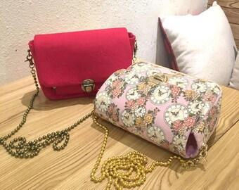Handmade Sewing shoulder bag Kit/DIY bag sewing Kit/two patterns in/size: 19*13*8cm