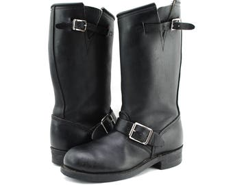 Vintage DOUBLE H Black Leather Engineer Motorcycle Hot Rod Biker Boots