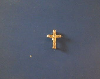 Cross Pendent Amethyst Faceted Glass Stone Inlayed