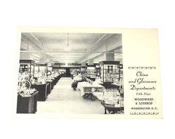 Unused Woodward and Lothrop China and Glassware Department Postcard, 1940s black and white ephemera