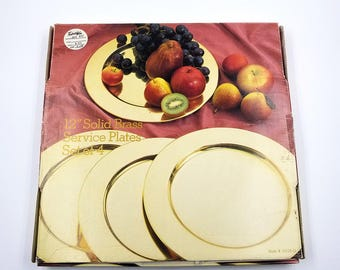 Vintage Set of Four Solid Brass Serving Plates / New in Box