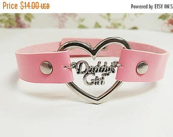 30%off sale daddys girl simple lolita day collar heart ddlg fetish bdsm Pink