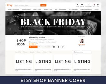 Black friday banner graphic sale - Cyber monday sale - Holiday graphics - Christmas shop banner set - Premade banner set - Branding package
