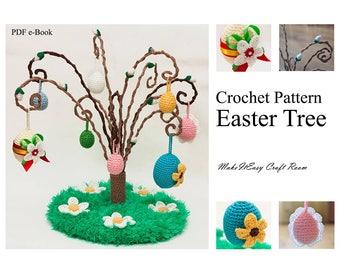 Easter tree crochet pattern Crochet willow tree Mini crochet egg Crochet pussy willow Curly willow branch Decorative branch Digital download