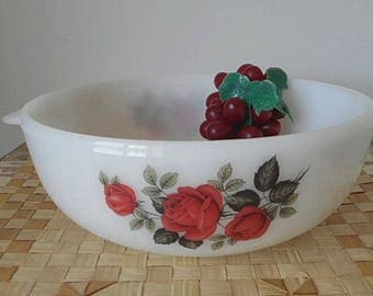 Phoenix Opal Ware Casserole Dish  - 1950s England Red Rose