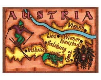 AUSTRIA - Handmade Leather Journal / Sketchbook - Color