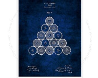 Pool Billiards decor art print #1 Billiard Game Balls design patented in 1897 with dark blue background