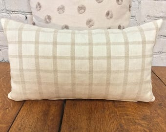 Beige Linen Plaid Pillow Cover, Farmhouse Pillow Cover, 10x17, Pillow Cover w/ Zipper