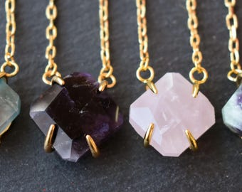 Natural Raw Gemstone Fluorite Horizontal Pendant Necklace