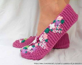 Translation tutorial: women's slippers, knitted in needles