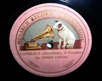 Enrico Caruso-L africana (Meyerbeer)/o Paradiso-Monarch 052157-Shellac-vintage Shelac record