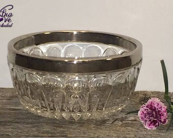 Vintage Round Silver Plated Rim Glass Candy Dish, Nut Dish, Glass Catchall, Collectible Glass