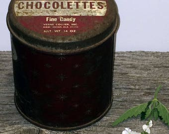 Vintage Chocolettes Tin Verne Collier Delicious Fine Candy, Candy Tin, Farmhouse Kitchen Decor