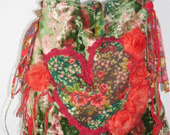 """Boho bag, antique, """"Love of my heart"""", floral, gipsy, unique, art to wear, Romantic"""