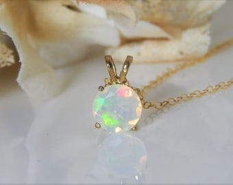 Opal Necklace • Fire Opal • Large Round Faceted Opal • Genuine Ethiopian Opal • Gold or Silver • October Birthstone • Girlfriend Gift [800]