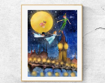 Peter Pan Nursery Decor, Peter Pan Watercolor Art , Nursery Wall Decor, Kids Room Decor, Nursery Art Print, Peter Pan Illustration